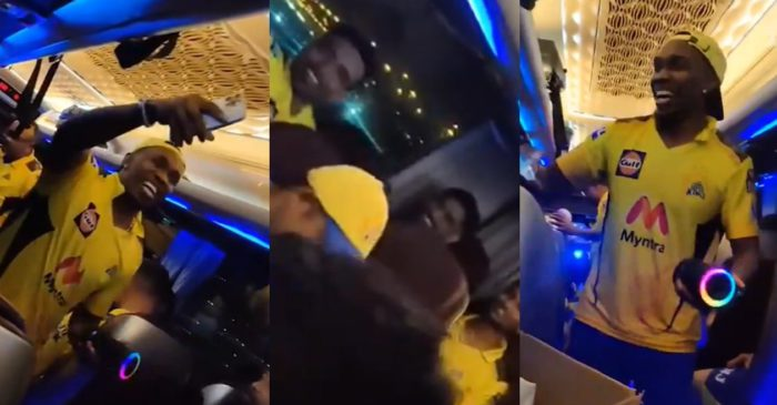 WATCH: Dwayne Bravo sings and dance in the team bus after CSK's victory over KKR in IPL 2021 final
