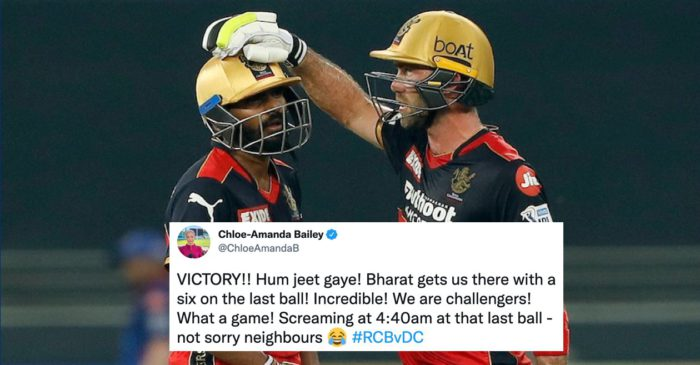 IPL 2021: Twitter Reactions: A last-ball six from Srikar Bharat guides RCB to a thrilling win over DC