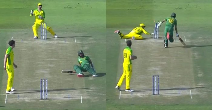 T20 World Cup: WATCH – Keshav Maharaj gets out in a comical way against Australia